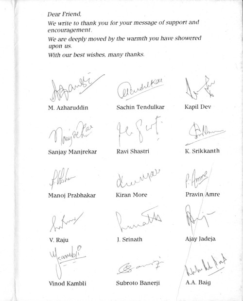 Signatures of the Indian 1992 World Cup Squad